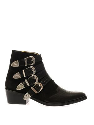Suede and leather buckle boots