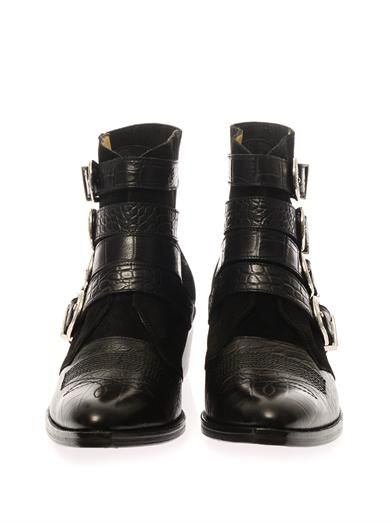 Toga Pulla Suede and leather buckle boots