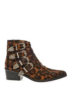 Calf-hair buckle boots