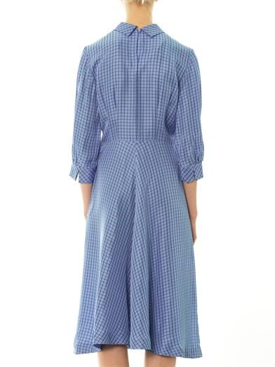 Toga Pulla Leather-bow check-print midi dress