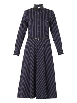 Striped cotton-twill dress