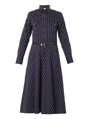 Striped cotton-twill dress