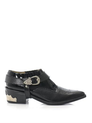 Toga Pulla Patent and textured leather ankle boots