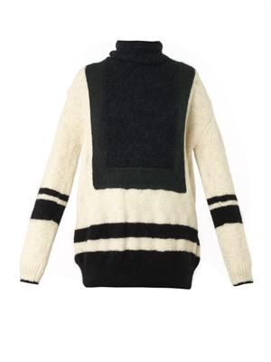 Colour-block roll-neck sweater