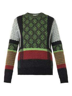 Jacquard mohair and wool-blend sweater