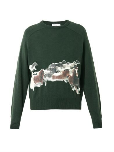 Toga Archives Horse bead-appliqué wool sweater