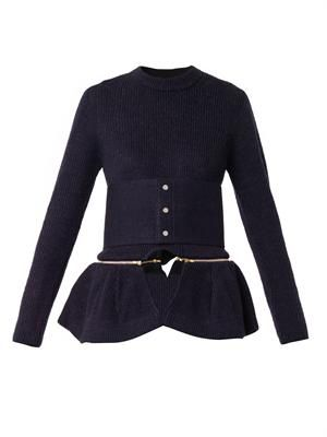 Detachable-peplum belted wool sweater