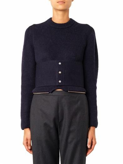 Toga Archives Detachable-peplum belted wool sweater