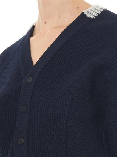 Toga Pulla Bi-colour cotton-blend cardigan