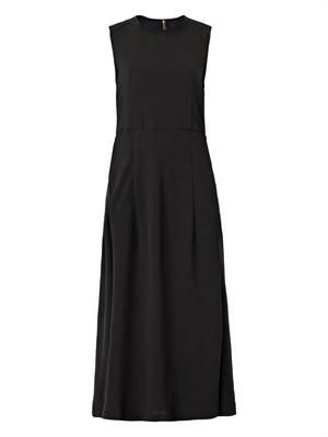 Crepe and faux-leather multi-panel dress