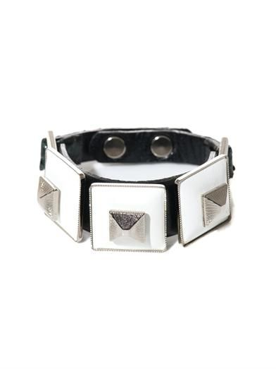 Toga Pulla Square pyramid leather bracelet