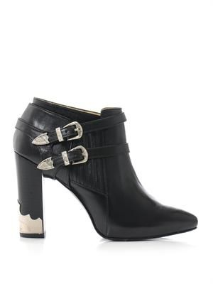 Double buckle high heel ankle boots