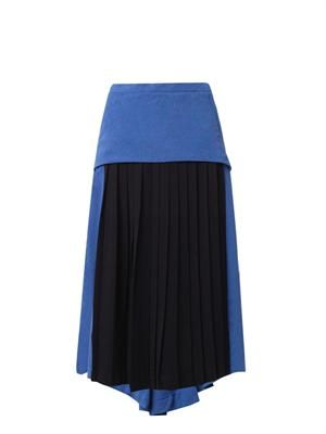 Bi-colour pleated crepe skirt
