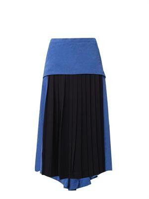 Bi-colour pleated crepe skirt