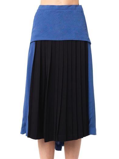 Toga Pulla Bi-colour pleated crepe skirt