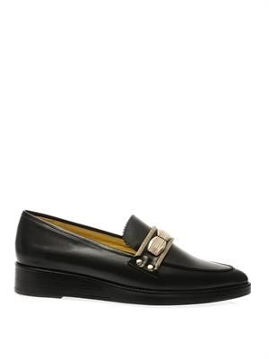 Metal-detail leather loafers