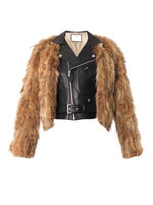 Leather and fur biker jacket