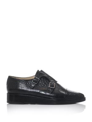 Embossed leather monk strap loafers