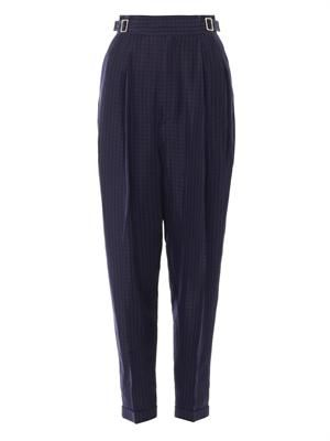 High-waisted check-print trousers