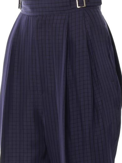 Toga Pulla High-waisted check-print trousers