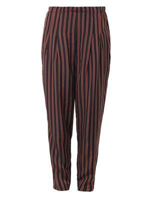 Striped high-waisted relaxed trousers