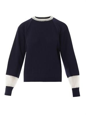 Bi-colour cotton-blend sweater