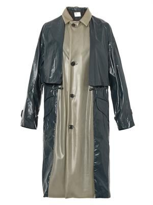 Latex and laminated-nylon trench coat