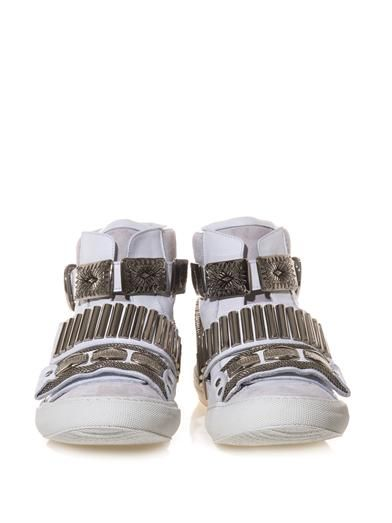 Toga Pulla Embellished leather and suede trainers
