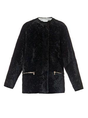 Shearling and metallic-python jacket