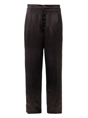Regency wide-leg silk trousers