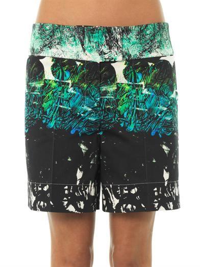 Cédric Charlier Printed cotton-blend shorts