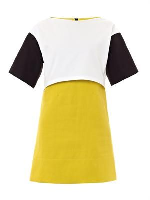 Contrast panel cotton dress