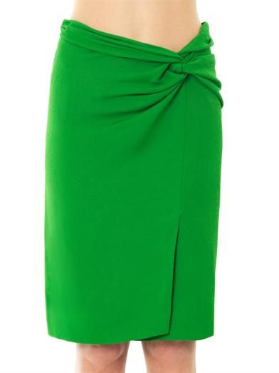 Cédric Charlier Twist-detail textured crepe skirt