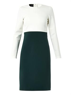 Bi-colour stretch-crepe dress