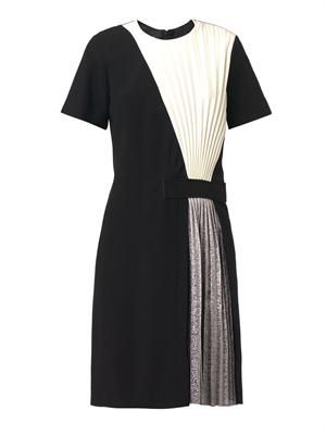 Pleated-panel crepe dress
