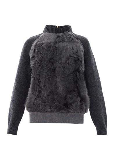 Cédric Charlier Shearling panel sweater