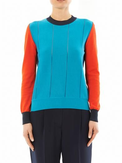 Cédric Charlier Contrast-panel cotton-knit sweater