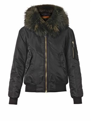 Fur-trim padded bomber jacket