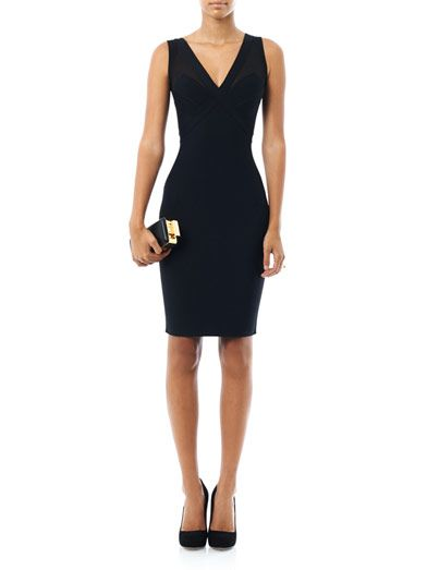 Herve L. Leroux Sheer shoulder panel body-con dress