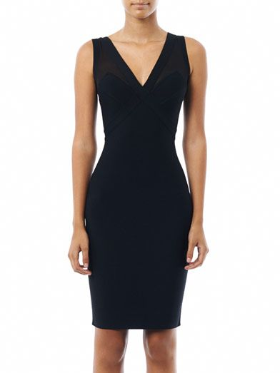 Herve L. Leroux Sheer shoulder panel body-con dress