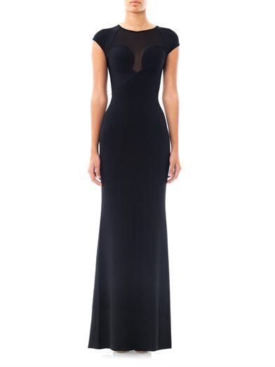 Herve L. Leroux Jac sheer panel gown