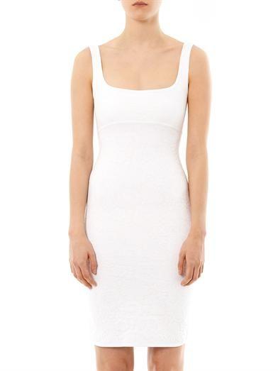 Herve L. Leroux Floral-jacquard body-con dress