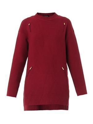 Chiffon-panel wool sweater
