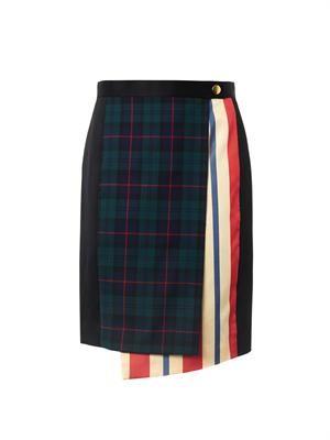 Tartan and stripe wrap skirt