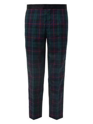 Tartan-front satin cropped trousers