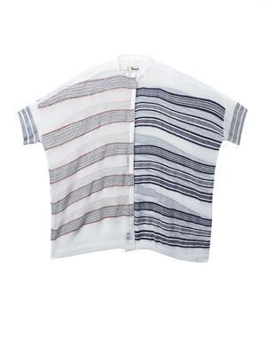 Tara contrast-stripe oversized shirt