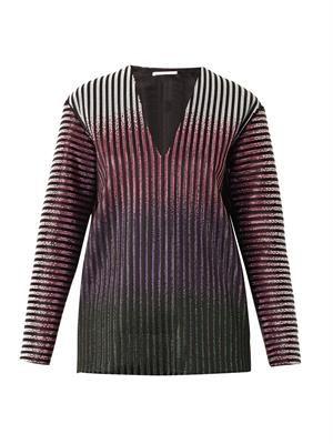 Stud-embellished dégradé striped top