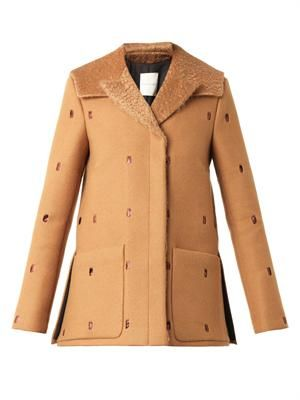 Perforated felted-wool pea coat