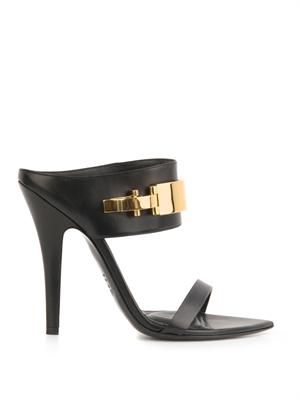 Buckle detail leather mules
