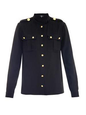 Signature-button crepe blouse